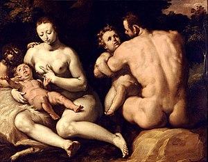 Musée des beaux-arts de Quimper - Cornelis Cornelisz van Haarlem, La première Famille (around 1582-1592), oil on canvas.