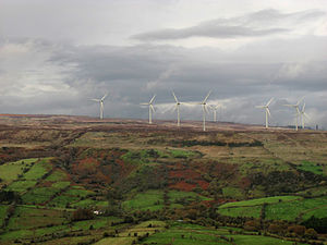 Renewable energy in the Republic of Ireland - Wind turbines on Leitrim's Corrie Mountain