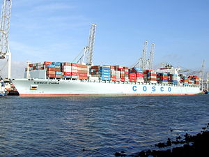 Cosco China at the Amazone harbour, Port of Rotterdam, Holland 10-Dec-2006.jpg