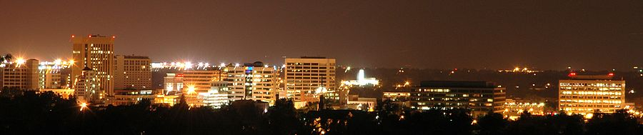 Boise skyline, at night