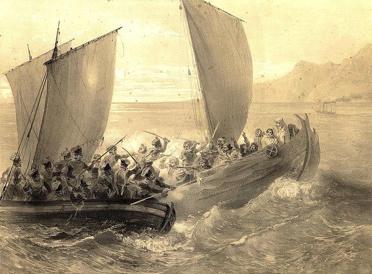 Cotes de la Mer Noire. Cosaques d%27Azof abordant un corsaire Turc. (1847)