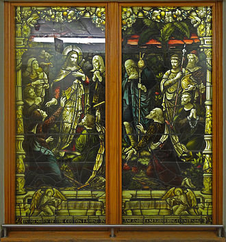 Lancashire Cotton Famine - Commemorative stained glass window preserved at North Manchester General Hospital. Originally commissioned for the Cotton Districts Convalescent home, Southport, in 1896