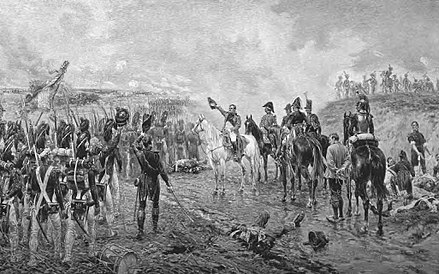 Napoleon addresses the Old Guard as it prepares to attack the Anglo-allied centre at Waterloo Crofts-Napoleon's last grand attack at Waterloo.jpg
