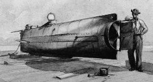 Submarine warfare - H.L. Hunley, the first submarine to sink an enemy vessel in combat.