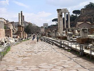 Via Sacra - Via Sacra passing through the Forum, with the Basilica Julia on the right