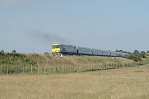InterCity (Iarnród Éireann) - InterCity train (201 Class) passing through   the Curragh in County Kildare