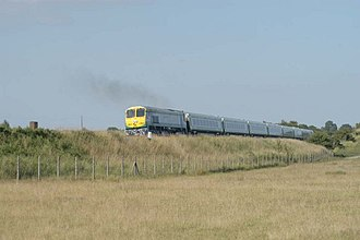 Iarnród Éireann - Train passing through the Curragh in County Kildare