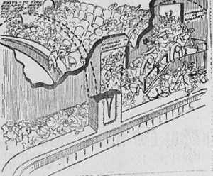 Iroquois Theatre fire - Panicked theatergoers trying to flee (artist's conception)