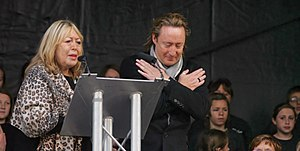 Cynthia Lennon - Cynthia and Julian Lennon at the unveiling ceremony of the John Lennon Peace Monument in Liverpool, 9 October 2010, John Lennon's 70th birthday