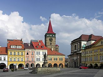 Duchy of Friedland - Jičín, Wallenstein's square - toward the right is the unfinished bishop's church and the rightmost building is the front part of ducal palace, rebuilt after Wallenstein's death