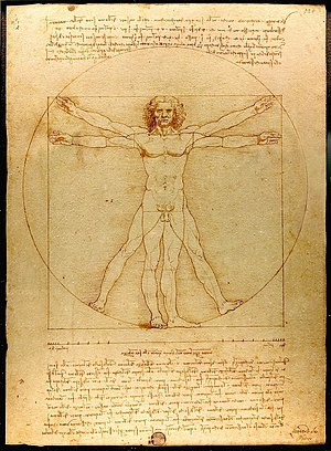 Vitruvius - Vitruvian Man by Leonardo da Vinci, an illustration of the human body inscribed in the circle and the square derived from a passage about geometry and human proportions in Vitruvius' writings