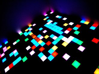Disco - Major disco clubs had lighted dance floors, with the light flashing according to the beat.