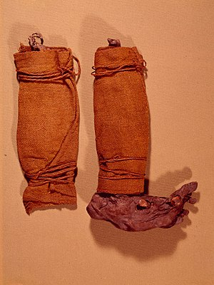 Puttee - Puttees of bog boy Søgårds Mose Man, Denmark, early Iron Age
