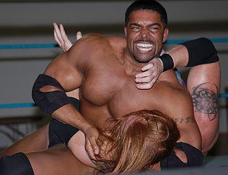 David Otunga - Otunga wrestling Heath Slater in May 2009
