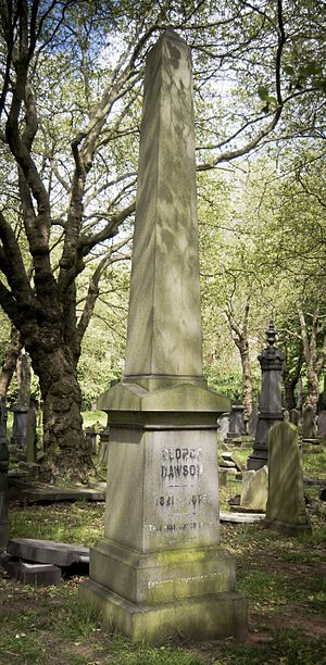 Key Hill Cemetery - Obelisk commemorating the preacher George Dawson (1821–1876)