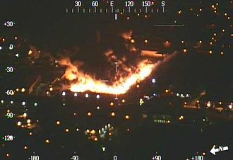 2013 Smethwick fire - The fire seen from the West Midlands Police helicopter