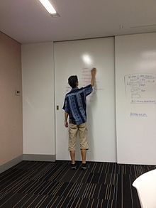 man standing at a white board wall writing