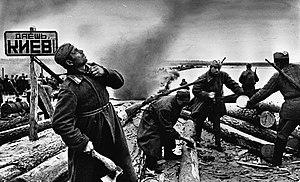 Sovietski vojaci na predmostí pred kyjevom