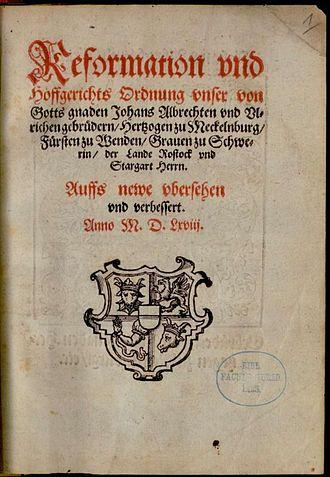 John Albert I, Duke of Mecklenburg - Reformation and Court Order of 1568 by John Albert I
