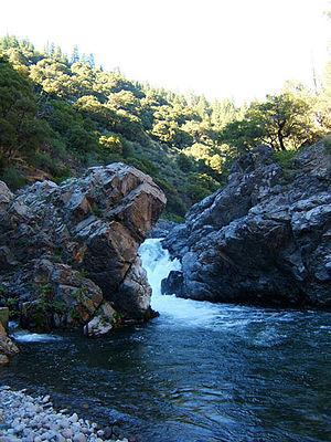 Deer Creek (Tehama County, California) - Deer Creek Falls and fish ladder, near Hwy. 32.