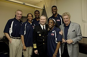 "Buck Williams - Vice Chairman of the Joint Chiefs of Staff Adm. Edmund G. Giambastiani Jr., U.S. Navy, poses for photos with members of Team USA in the Pentagon in Arlington, Virginia, on April 6, 2006. The basketball superstars are in the Pentagon to hold a special basketball clinic for children of deployed and active duty military members as part of April's ""National Month of the Military Child."" From left are: Chris Mullin, Chasity Melvin, Buck Williams, Giambastiani, Ruthie Bolton, David Robinson and Chuck Daly."