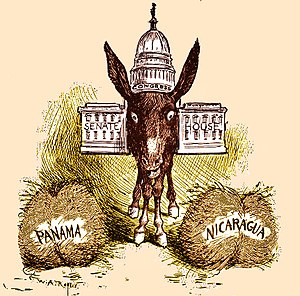 Buridan's ass - Political cartoon c. 1900, showing the United States Congress as Buridan's ass (the two hay piles version), hesitating between a Panama route or a Nicaragua route for an Atlantic–Pacific canal.