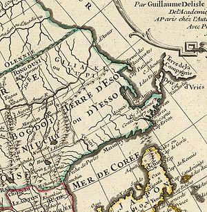 Sea of Japan naming dispute - A 1723 French map describing the sea as Mer de Coree (Sea of Korea).