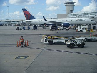 Orlando International Airport - Two Delta Air Lines Boeing 757-200s parked at MCO