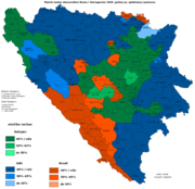 Map of largest ethnic group for Bosnia and Herzegovina, 2006 municipality data (estimates).      Bosnian Serbs      Bosnian Croats      Bosniaks