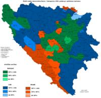 Εθνογραφικός χάρτης βασισμένος σε προσεγγιστικές εκτιμήσεις για τους δήμους της Βοσνίας. Τα χρώματα δείχνουν τη μεγαλύτερη εθνοτική ομάδα σε κάθε δήμο: ██Κροάτες ██Σέρβοι ██Βόσνιοι
