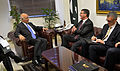 Deputy Secretary of Defense Ashton B. Carter, right, meets with Sartaj Aziz, the advisor to the Prime Minister for Foreign Affairs and National Security as he visits Islamabad, Pakistan 130916-D-NI589-353.jpg