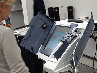 Voter-verified paper audit trail - A Diebold Election Systems AccuVote-TSx DRE voting machine with VVPAT attachment