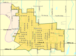 Detailed map of Eureka, Kansas