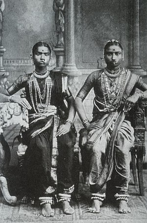 Devadasi - A 1920s photograph of two Devadasis in Tamil Nadu, South India