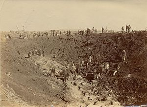 Largest artificial non-nuclear explosions - The hole created by the Braamfontein dynamite explosion (looking west) at Maraisburg on 19 February 1896