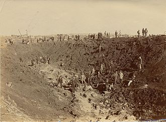Netherlands-South African Railway Company - The hole created by the dynamite explosion (looking west) at Maraisburg on 19 February 1896.