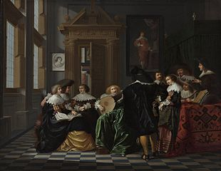 A musical company in a Renaissance hall
