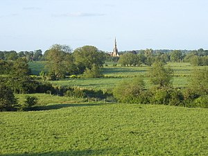 Fulbrook, Warwickshire - All Saints Church in Sherbourne, seen from Fulbook across the River Avon