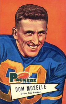 Dom Moselle in a Green Bay Packers uniform on 1952 football card
