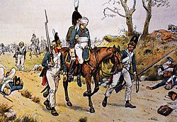 Prussian wounded and stragglers leaving the double battle by Richard Knötel