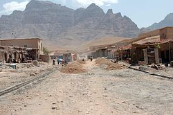 The main street in Baghran's district centre is being resurfaced as part of a foreign reconstruction project.