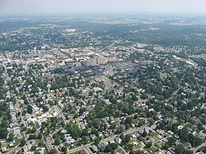 Findlay, Ohio - Aerial view of downtown Findlay