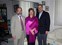 Dr. Ehtuish Ehtuish Dr. Francis Delmonico, Dr. Debra Budiani at dr.ehtuish's office..jpg