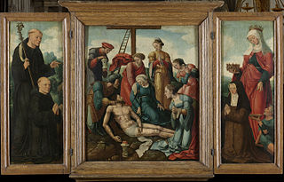 Triptych with the Lamentation of Christ (centre panel), the donor with St Benedict (inner left wing) and the donatrix with St Elizabeth of Thuringia (inner right wing)