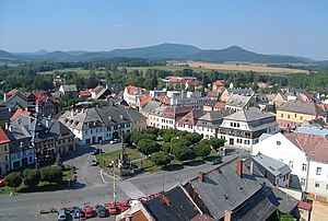 Jablonné v Podještědí - View over Peace Square towards Lusatian Mountains