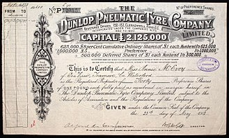 Dunlop Rubber - Share of the Dunlop Pneumatic Tyre Company Ltd., issued 23. May 1912