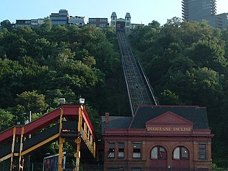 Funicular - Duquesne Incline, Pittsburgh, Pennsylvania, U.S., with full-length parallel tracks