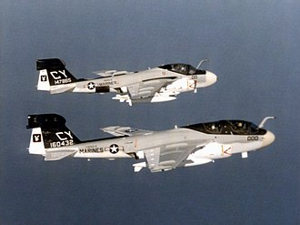Northrop Grumman EA-6B Prowler - The two-seat EA-6A (top) was followed by the four-seat EA-6B Prowler (bottom)