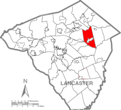 Map of Lancaster County highlighting Earl Township