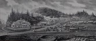 East Litchfield Village, Connecticut - Illustration of the East Litchfield village circa 1880. There are no known photos in existence showing the depot from this perspective. This illustration was created by East Litchfield resident and artist Jesse Richard by referencing several old photos of the area.